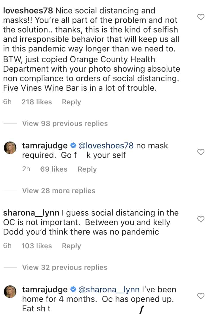RHOC Tamra Judge Defends Mask Free Night Out With Vicki Gunvalson