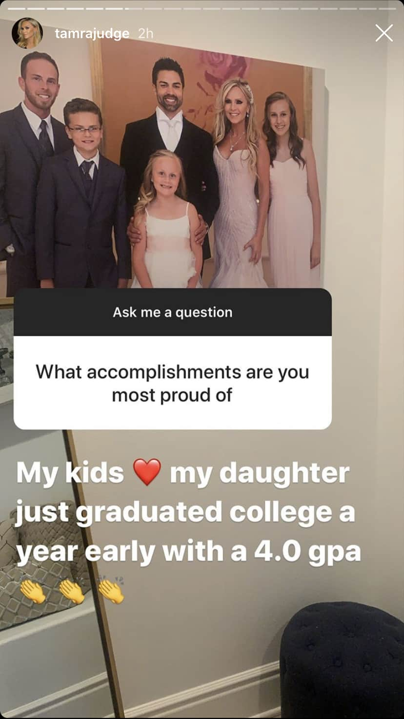 RHOC Tamra Judge Reveals Daughter Sidney Graduated College Early