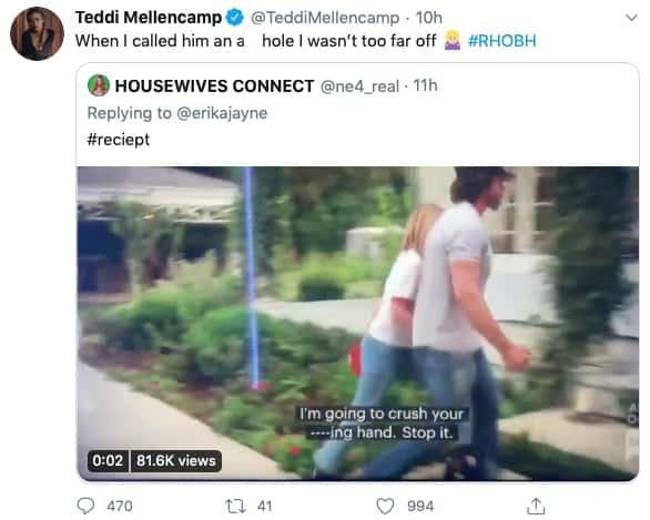 RHOBH Teddi Mellencamp Reacts to Aaron Phypers Threatening Denise Richards