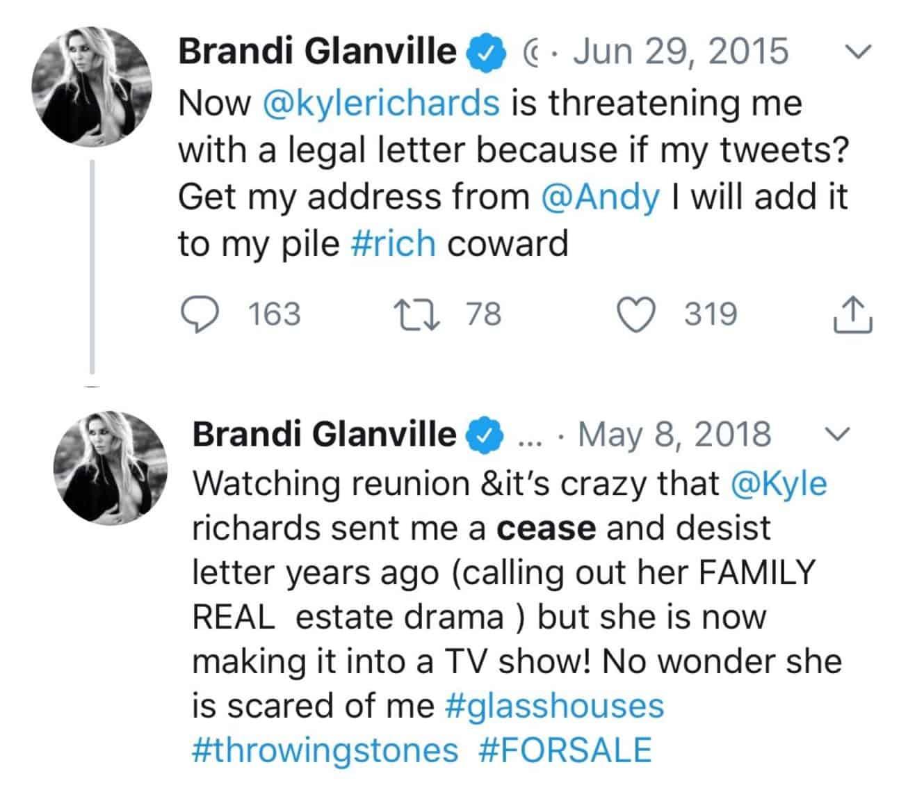 BRandi Glanville Accuses Kyle Richards of Sending Her Cease and Desist