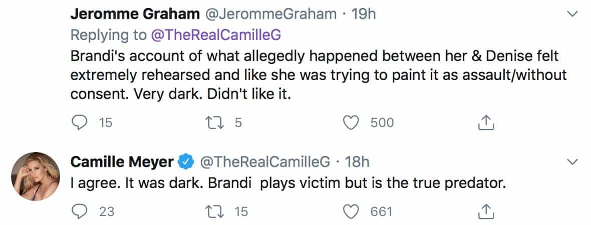 RHOBH Camille Grammer Claims Brandi Glanville is a Predator
