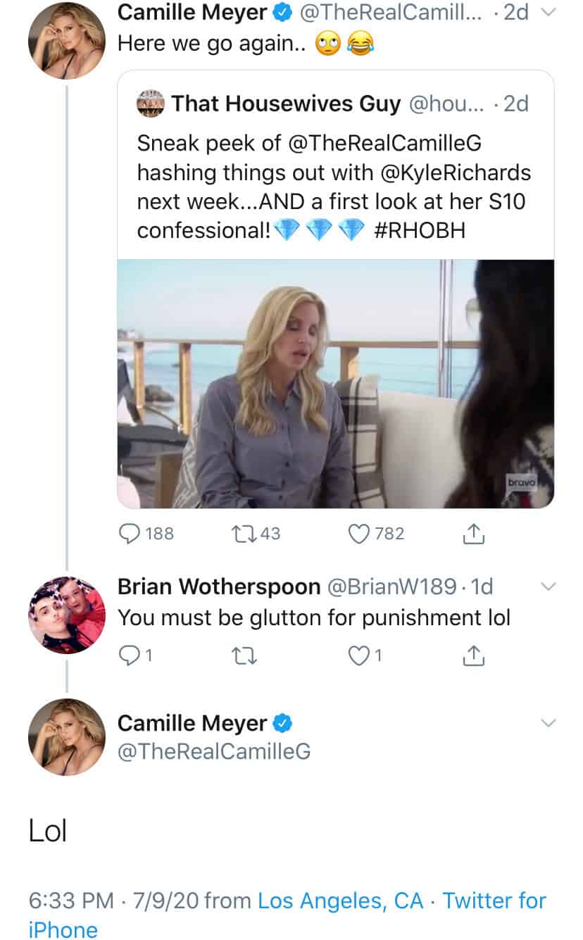 Camille Grammer Reacts to Sneak Peek of Confrontation With Kyle Richards on RHOBH