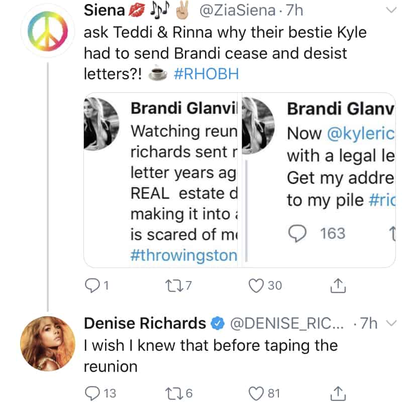 Denise Richards Wishes She Knew About Kyle Richards' Cease and Desist Drama Before the RHOBH Reunion