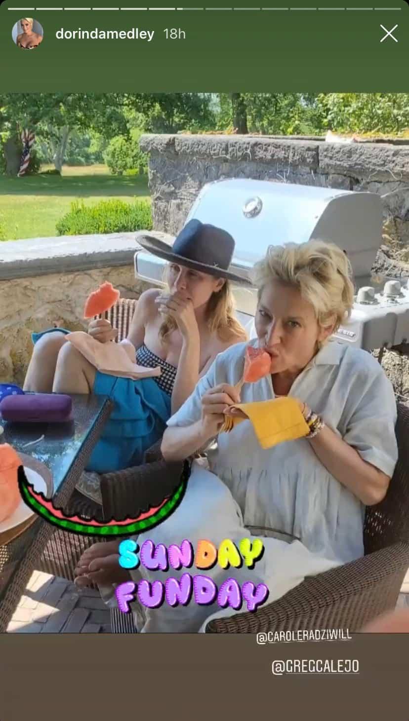 RHONY Dorinda Medley Enjoys Sunday Funday at Blue Stone Manor With Carole Radziwill