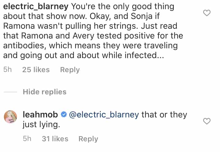 RHONY Leah McSweeney Suggests Ramona Singer and Avery Lied About COVID-19 Diagnosis