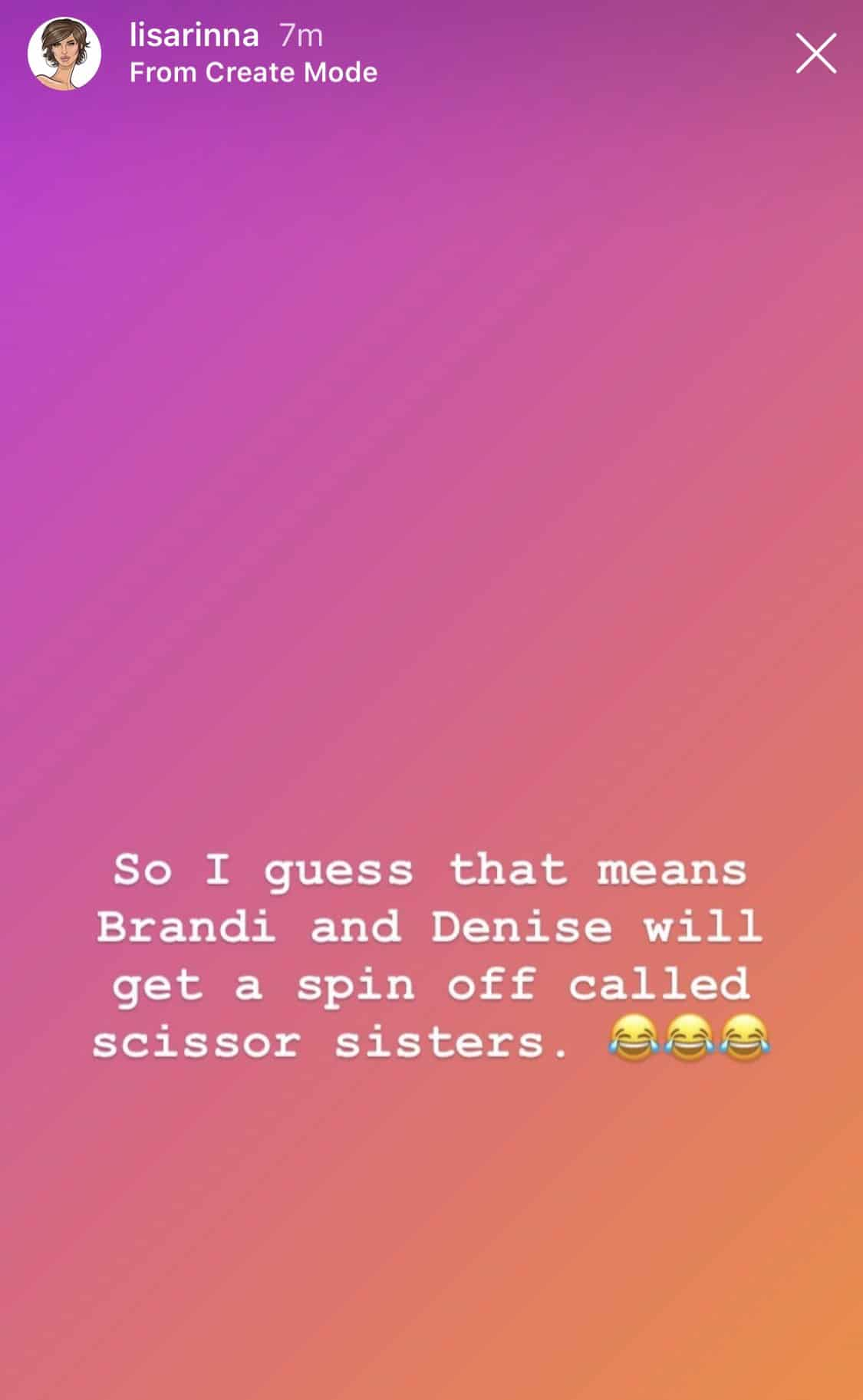 RHOBH Lisa Rinna Jokes About 'Scissor Sisters' RHOBH Spinoff With Denise Richards and Brandi Glanville