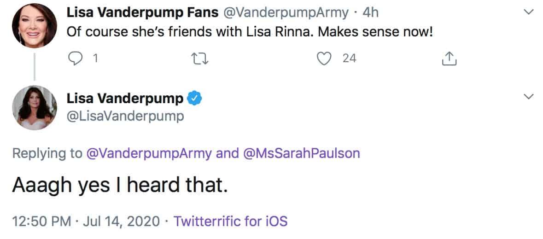 RHOBH Lisa Vanderpump Believes Sarah Paulson is Friends With Lisa Rinna