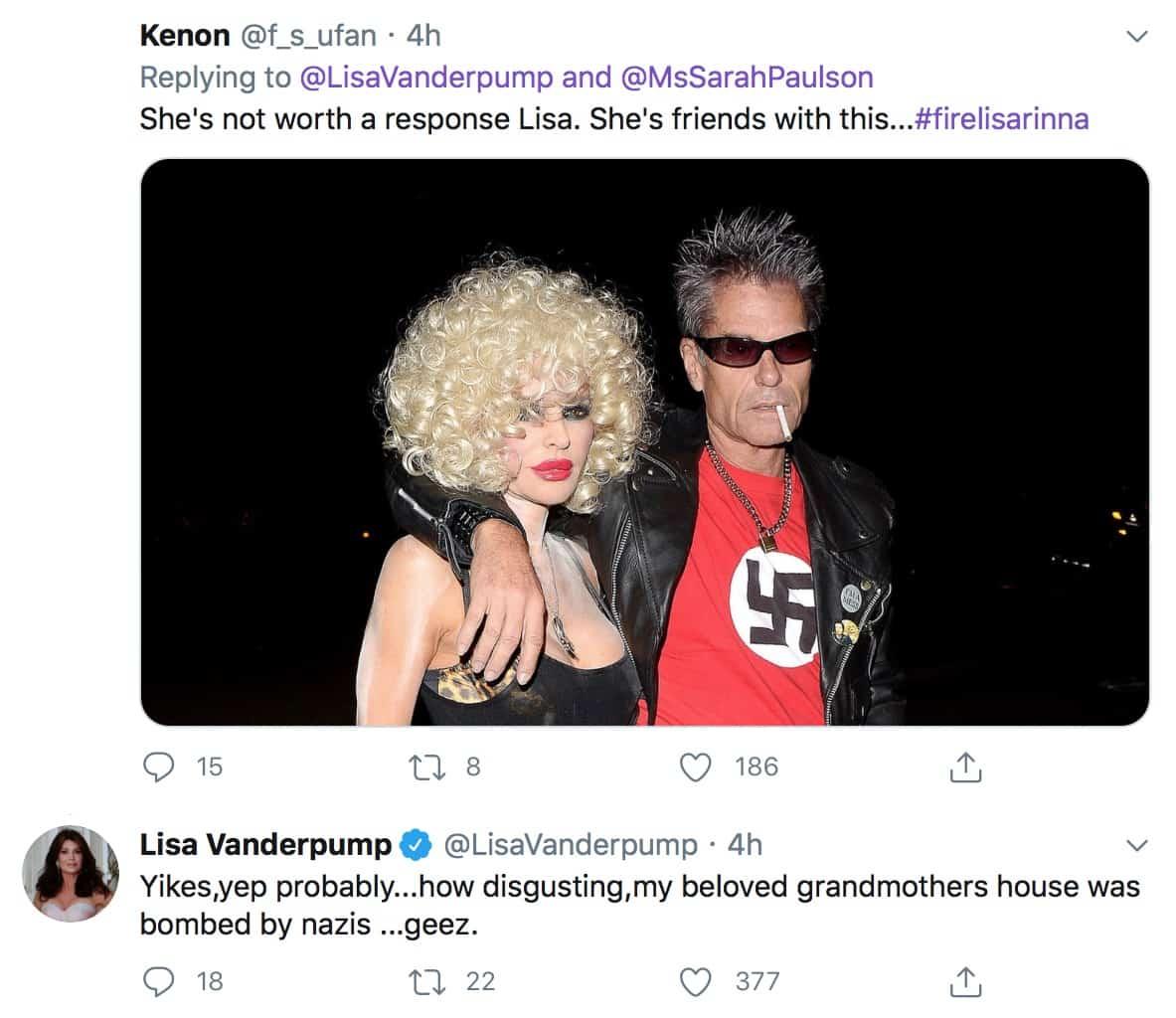 RHOBH Lisa Vanderpump Reacts to Harry Hamlin Nazi Halloween Costume