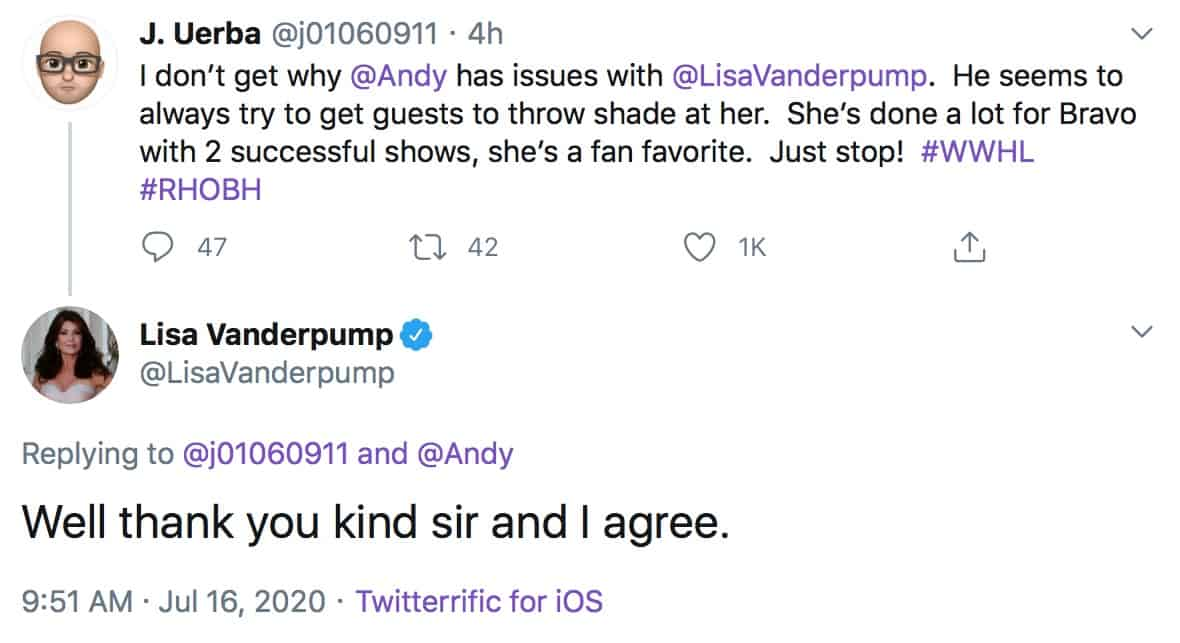 RHOBH Lisa Vanderpump Responds to Andy Cohen's Issues and WWHL Shade