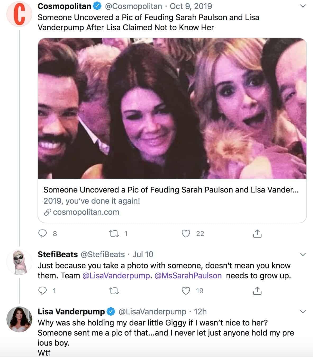 RHOBH Lisa Vanderpump Says She Doesn't Let Just Anyone Hold Giggy Amid Sarah Paulson Feud