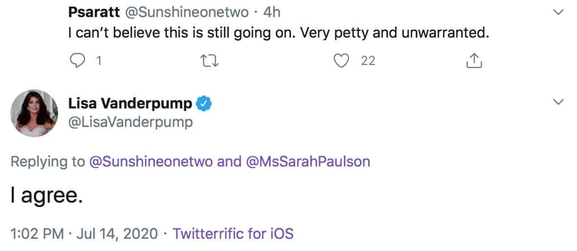 RHOBH Lisa Vanderpump Slams Sarah Paulson for Petty Attack