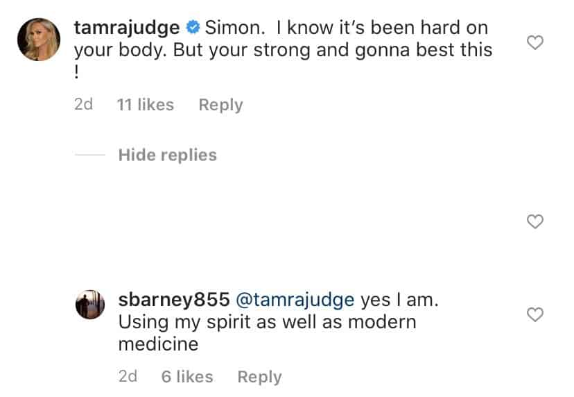 RHOC Tamra Judge Reacts to Simon Barney Cancer Treatment Photos