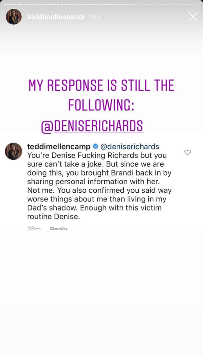 RHOBH Teddi Mellencamp Shares Her Response to Denise Richards Diss