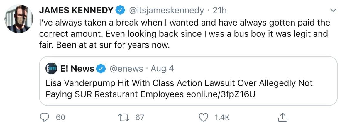 Vanderpump Rules James Kennedy Defends SUR Restaurant Amid Lawsuit Drama With Lisa Vanderpump