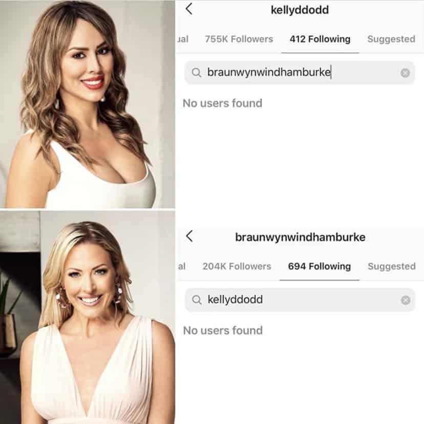 RHOC Kelly Dodd and Braunwyn Windham-Burke Unfollow One Another on Instagram