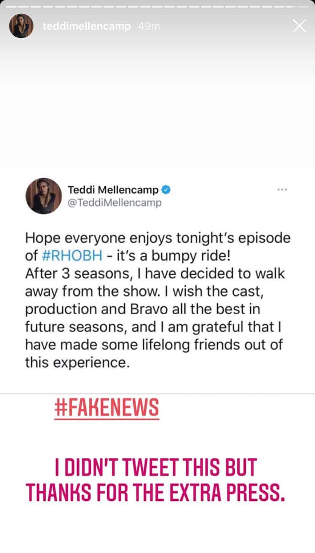 Teddi Mellencamp Denies Quitting RHOBH After Fake Tweet