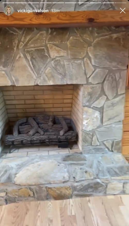 RHOC Vicki Gunvalson Lake House Fireplace