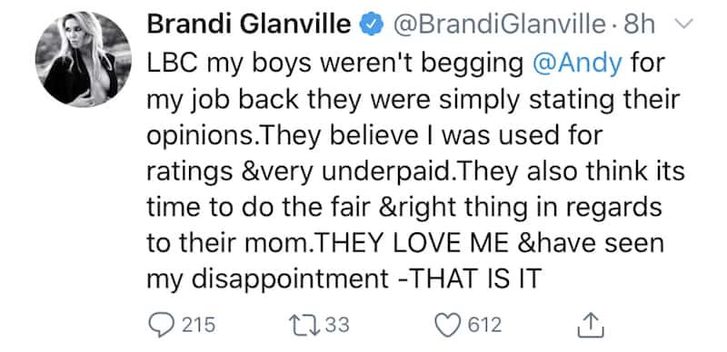 Brandi Glanville Reacts to Claims of Sons Begging for RHOBH Job Back