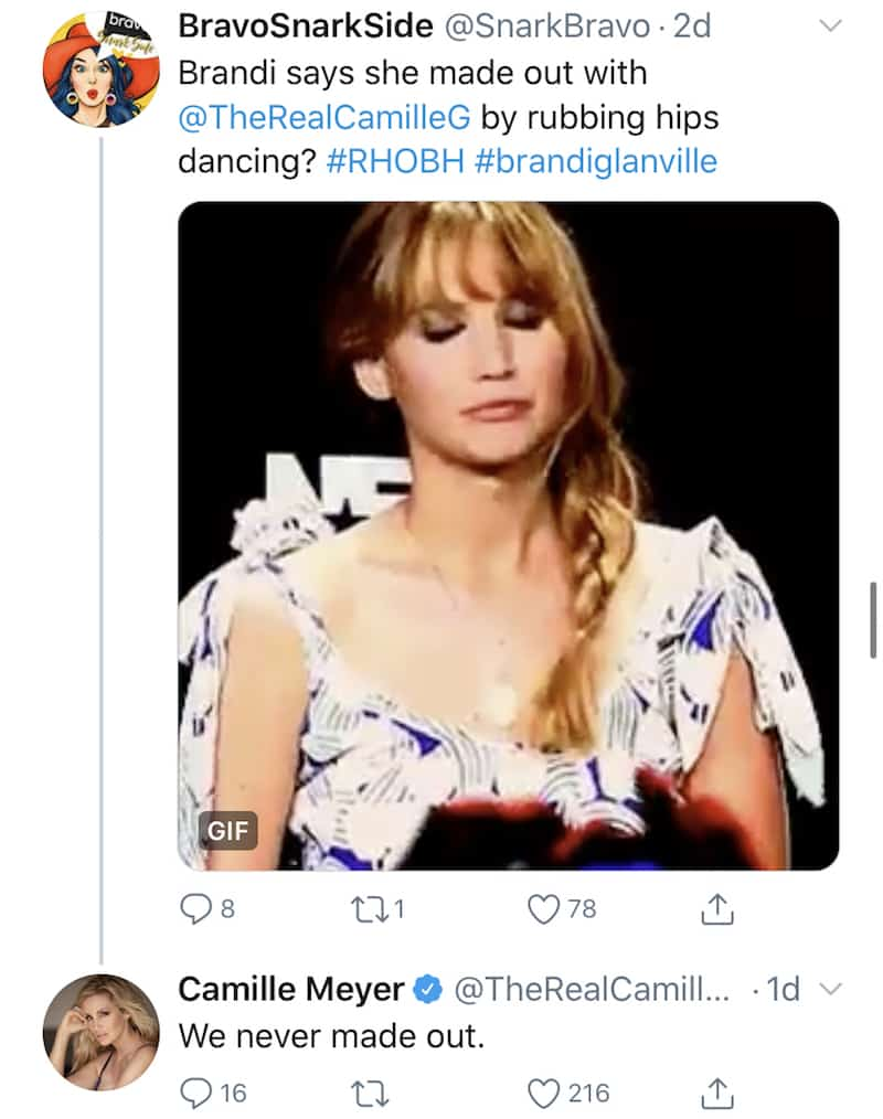 RHOBH Camille Grammer Denies Makeout With Brandi Glanville