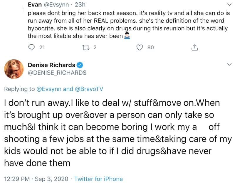 Denise Richards defends herself against drug rumors as fan calls for RHOBH Firing