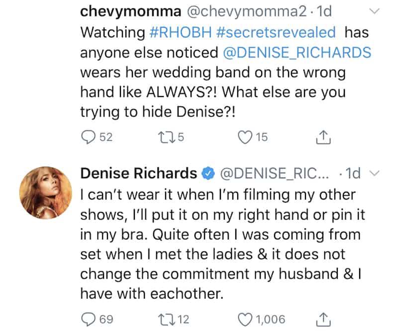 RHOBH Denise Richards Explains Wearing Wedding Band on Wrong Hand