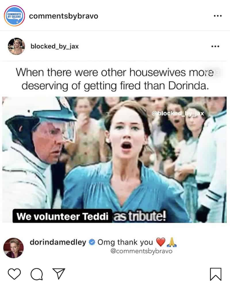 Dorinda Medley Responds to Instagram Meme About Getting Fired From RHONY