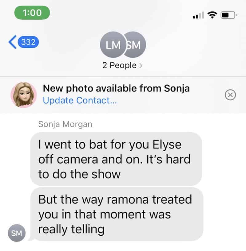 RHONY Elyse Slaine Leaks Text Messages From Sonja Morgan