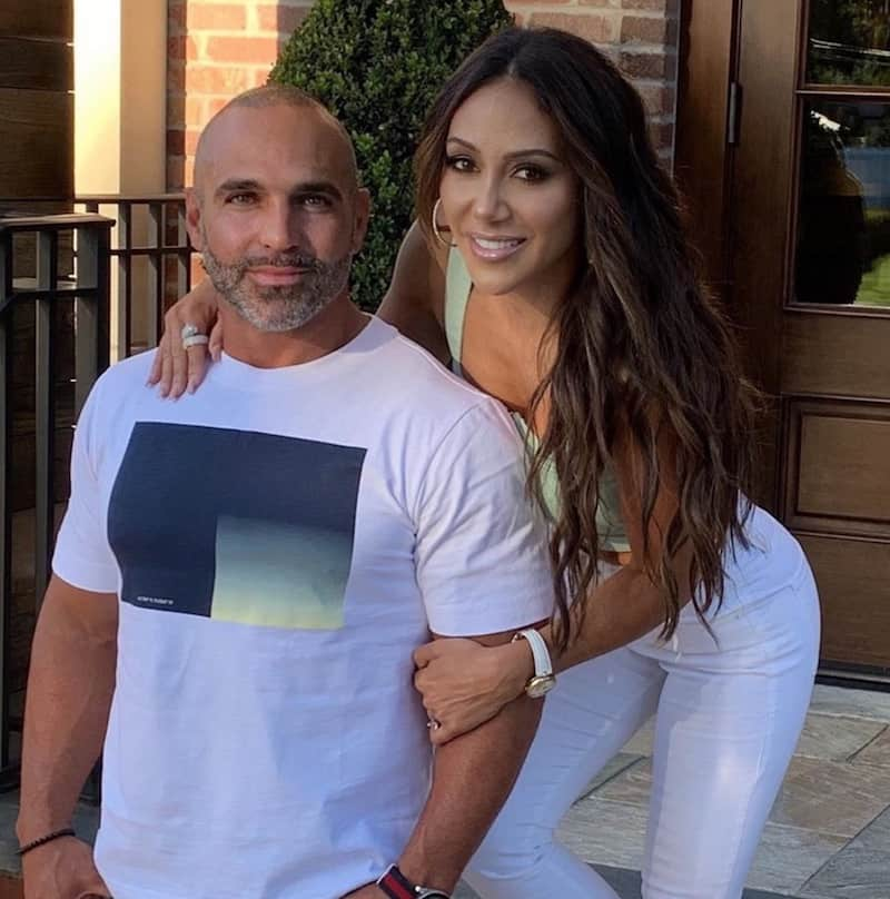 RHONJ Joe Gorga and Melissa Gorga pose in White and Green
