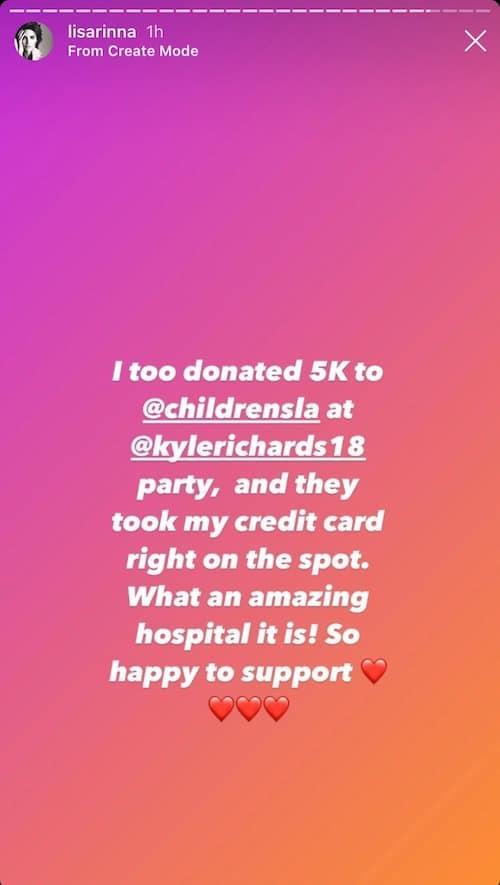 RHOBH Lisa Rinna Confirms $5,000 Donation to Kyle Richards' Charity