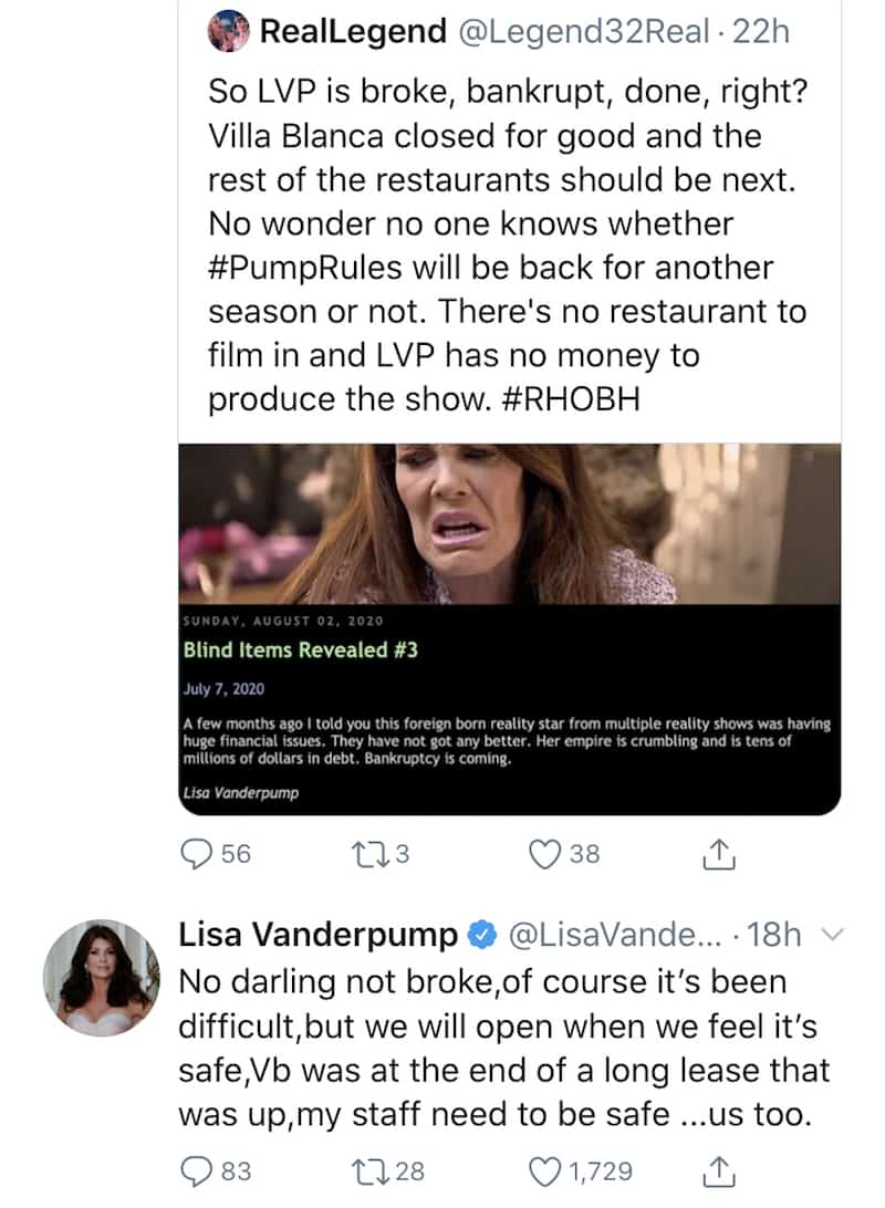 RHOBH Lisa Vanderpump Denies Being Broke After Villa Blanca Closure