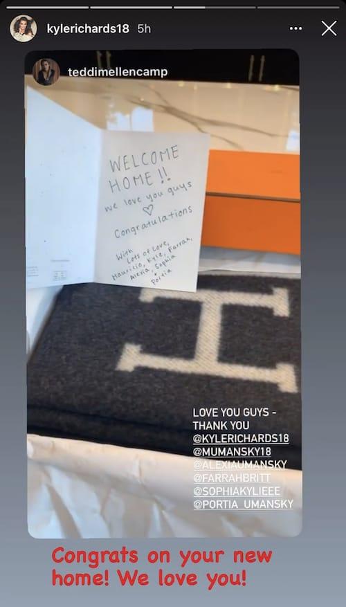 RHOBH Teddi Mellencamp Receives Hermes Blanket as Housewarming Gift From Kyle Richards