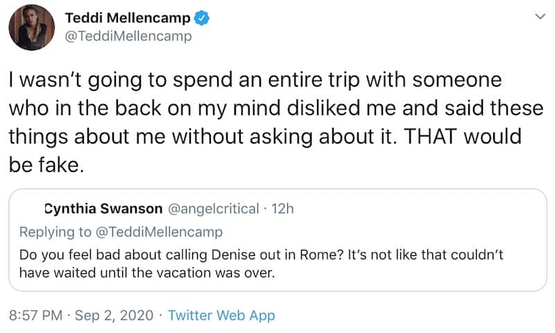 RHOBH Teddi Mellencamp Reveals Why She Confronted Denise Richards in Rome