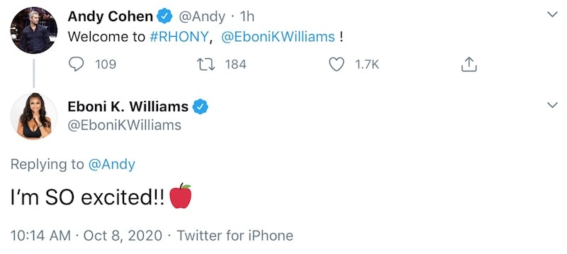 Andy Cohen Welcomes Eboni K. Williams to RHONY