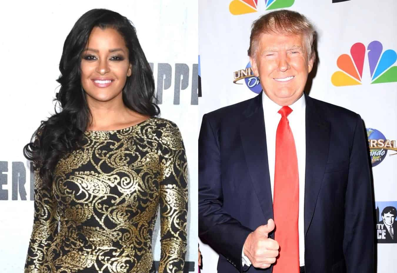 """RHOA's Claudia Jordan Claims Donald Trump """"Tried to Kiss"""" Her Twice While Married to Wife Milania and Says Everyone Knows He Cheats, Alleges Don Jr. Was """"Definitely Hollering"""" at Aubrey O'Day on Celebrity Apprentice"""