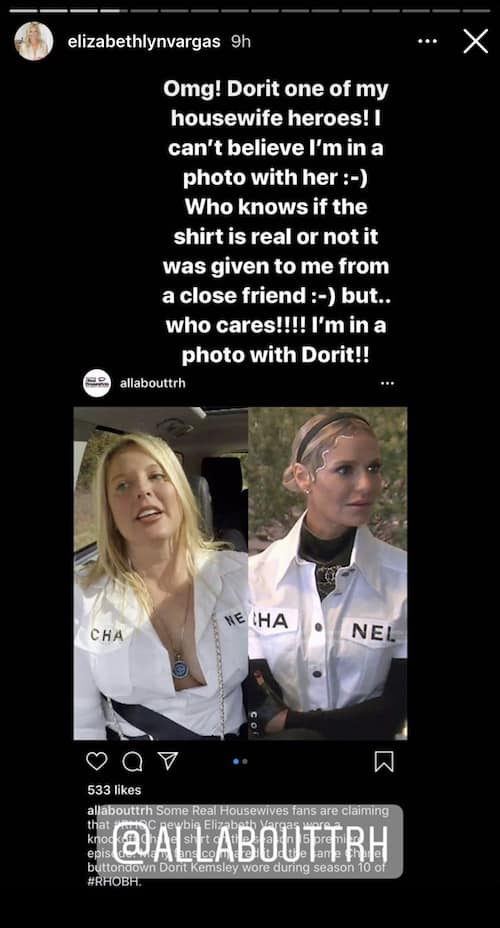 RHOC Elizabeth Vargas Responds to Claims of Wearing a Fake Chanel Shirt