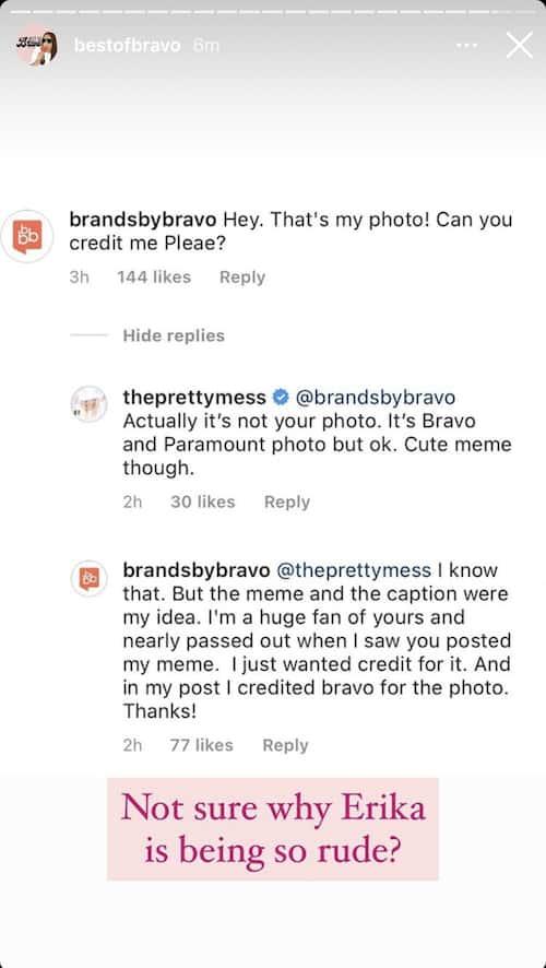 RHOBH Erika Jayne Denies Stealing Bravo Fan Page's Photo