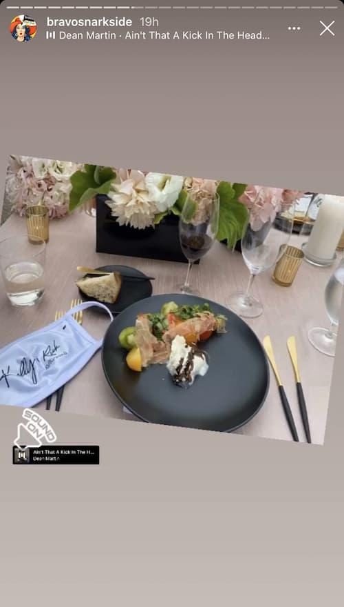 RHOC Kelly Dodd Mask and Reception Food at Wedding