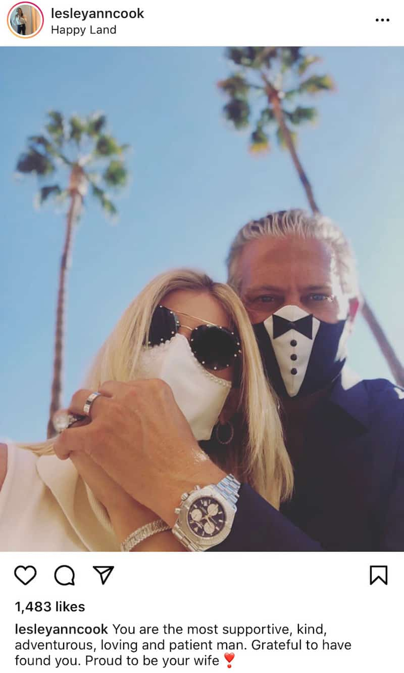 RHOC Lesley Cook and David Beador Celebrate Marriage With Bride and Groom Masks