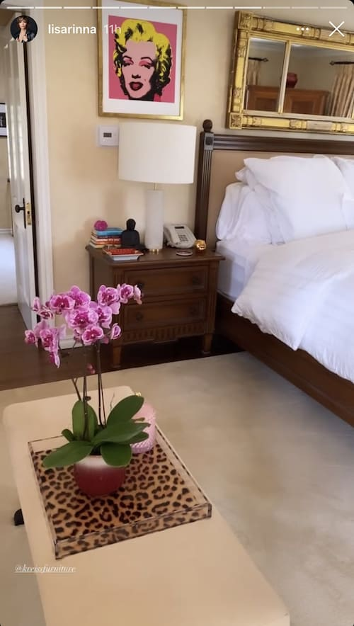 RHOBH Lisa Rinna Showcases Bedroom Artwork and Flowers