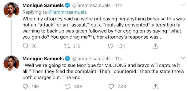 RHOP Monique Samuels Claims Candiace Dillard Bassett Wanted Millions for Their Fight