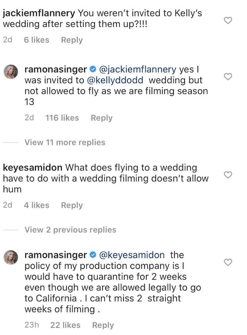 RHONY Ramona Singer Explains Why She Didn't attend Kelly Dodd Wedding