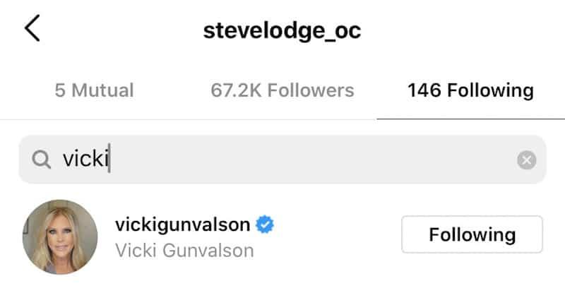 RHOC Steve Lodge Re-Follows Fiancee Vicki Gunvalson