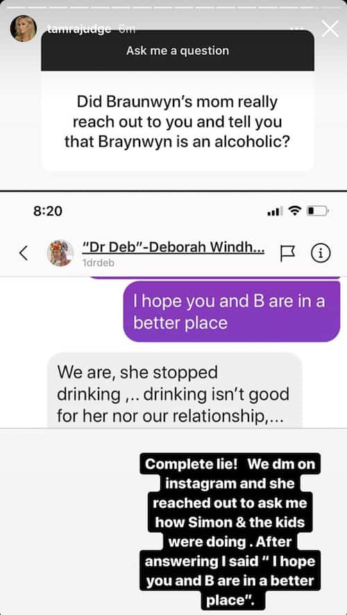 RHOC Tamra Judge Leaks IG DM From Braunwyn Windham-Burke's Mom Dr. Deb