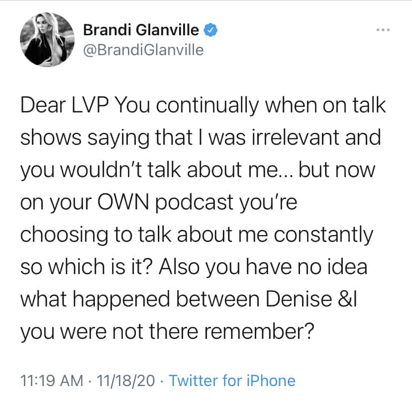 Brandi Glanville Calls Out Lisa Vanderpump on Twitter