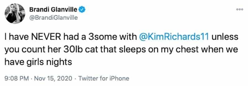 RHOBH Brandi Glanville Denies Having a Threesome With Kim Richards