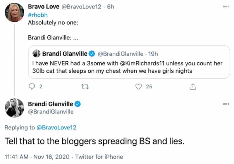 RHOBH Brandi Glanville Slams Fake Rumors About a Hookup WIth Kim Richards