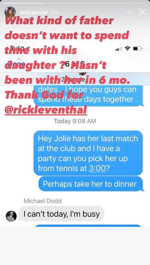 RHOC Kelly Dodd Leakes Text From Ex Michael Saying He's Too Busy to Spend Time With Jolie
