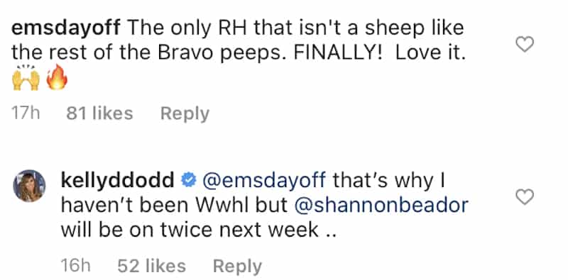 RHOC Kelly Dodd Suggests She's Banned From WWHL Because She's No Sheep
