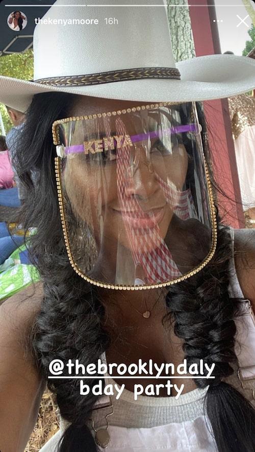 RHOA Kenya Moore Wears Mask at Daughter Brooklyn's Birthday Party
