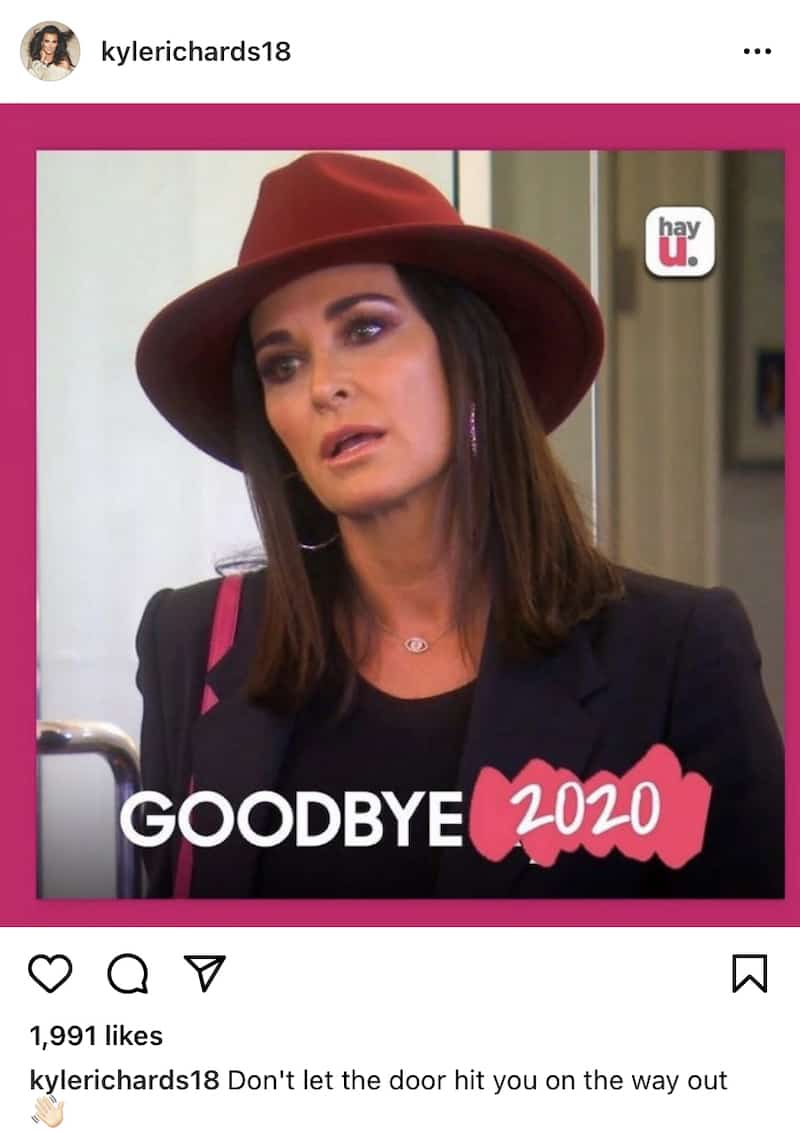 RHOBH Kyle Richards Gives Nod to Goodbye Kyle Challenge in New Year's Eve Post
